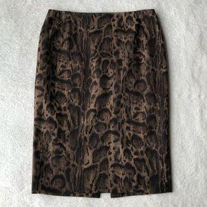 Lafayette 148 Animal Leopard Print Pencil Skirt